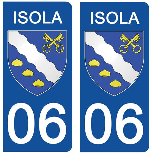 2 stickers pour plaque d\'immatriculation Auto, 06  ISOLA