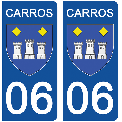 2 stickers pour plaque d\'immatriculation Auto, 06 CARROS
