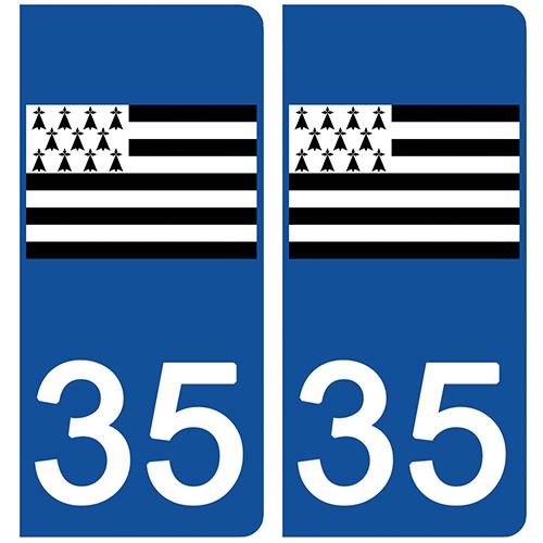2 stickers pour plaque d\'immatriculation Auto, 35 l\'Ille et Vilaine, Gwenn ha du, drapeau breton