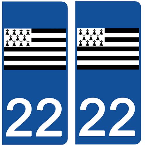 2 stickers pour plaque d\'immatriculation Auto, 22 Côtes-d\'Armor, Gwenn ha du, drapeau breton