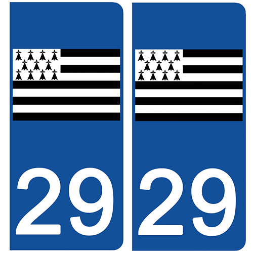 2 stickers pour plaque d\'immatriculation Auto, 29  Finistère, Gwenn ha du, drapeau breton