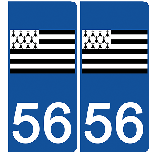 2 stickers pour plaque d\'immatriculation Auto, 56 Morbihan, Gwenn ha du, drapeau breton