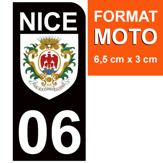 1 sticker pour plaque MOTO , Blason de Nice 06, noir
