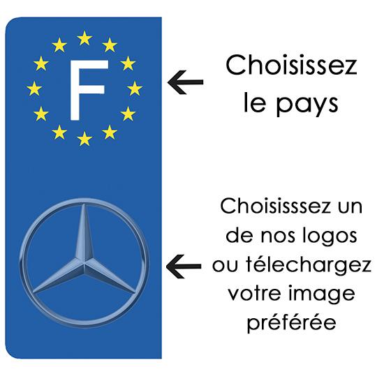 PERSONNALISEZ vos stickers pour plaque immatriculation Auto, Euroband, Bleu ou Noir
