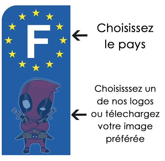 PERSONNALISEZ votre sticker pour plaque d\'immatriculation MOTO, euroband, Bleu ou Noir