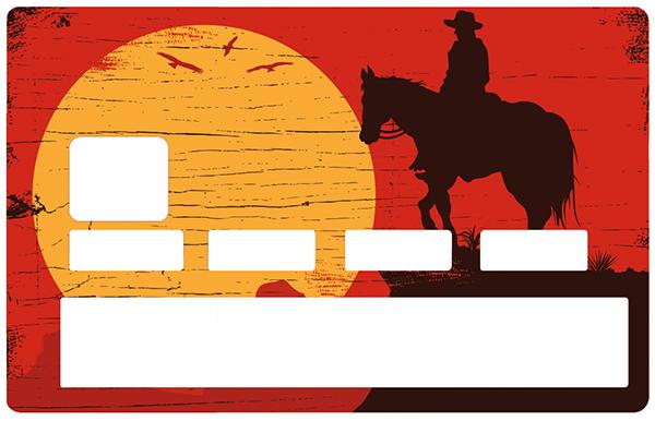 Sticker pour carte bancaire, Cowboy au soleil couchant