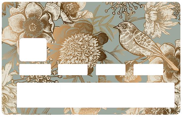 Sticker pour carte bancaire, oiseau d\'or