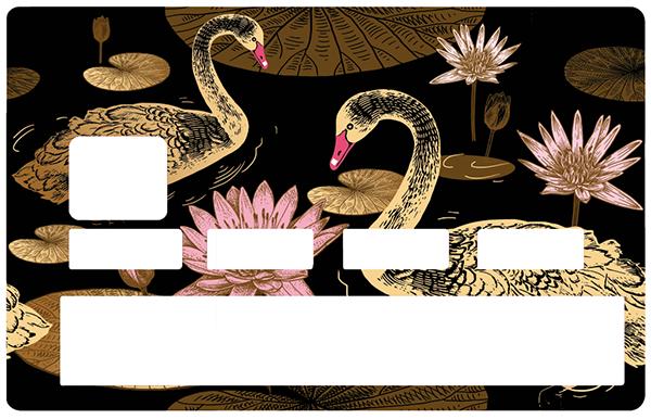 Sticker pour carte bancaire, Cygnes et Lotus