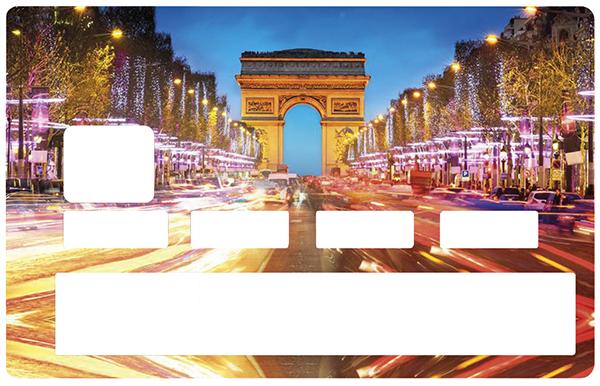 Sticker pour carte bancaire, Paris les champs Elysées
