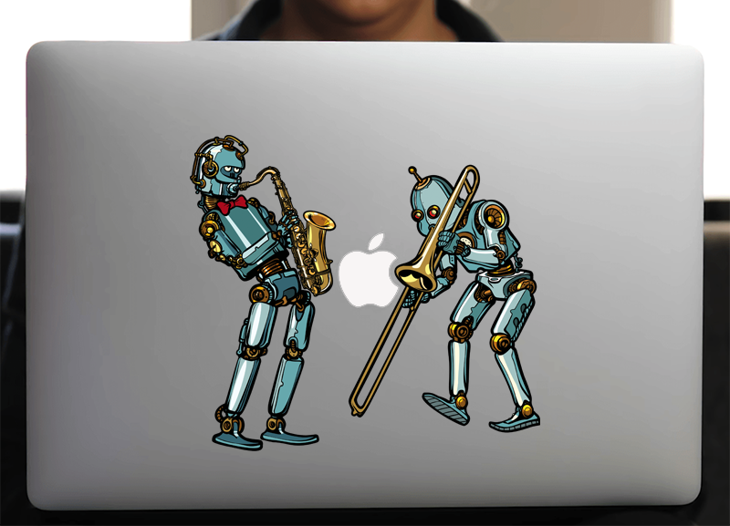 Sticker pour Macbook ou PC, les robots musiciens