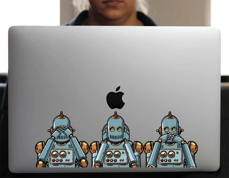 Sticker pour Macbook ou PC, les 3 robots, Ne rien voir, ne rien entendre, ne rien dire