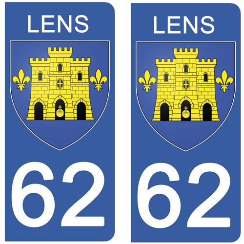 2 stickers pour plaque  Auto, 62 LENS- Pas de Calais