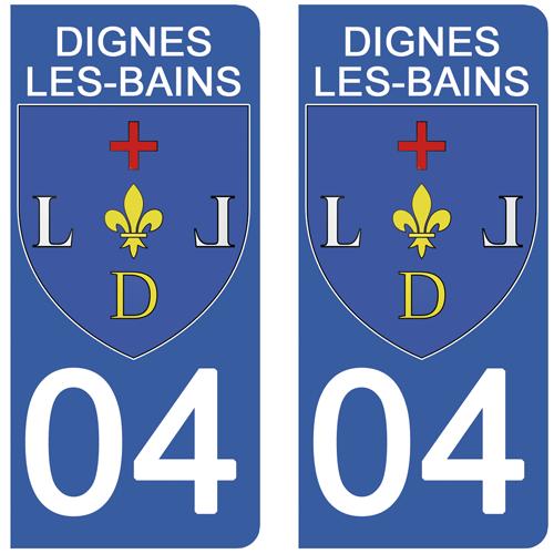 2 stickers pour plaque d\'immatriculation Auto, 04 DIGNES-LES-BAINS, Alpes-de-Haute-Provence