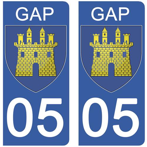 2 stickers pour plaque d\'immatriculation Auto, 05 GAP