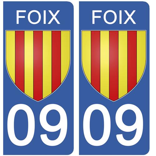 2 stickers pour plaque d\'immatriculation pour Auto, 09 FOIX, Ariège