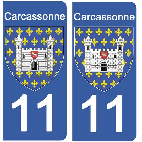2 stickers pour plaque d\'immatriculation, 11 CARCASSONNE Aude