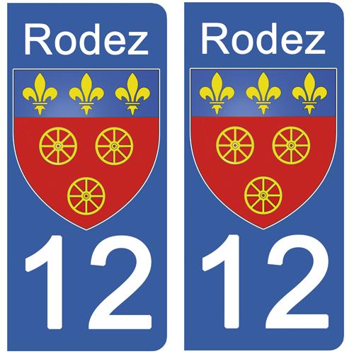 2 stickers pour plaque d\'immatriculation, 12 RODEZ, Aveyron, Région OCCITANIE