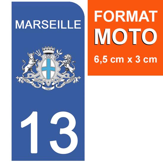 1 sticker pour plaque d\'immatriculation MOTO , 13 MARSEILLE, BOUCHE DU RHONE