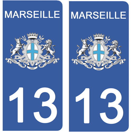 2 stickers pour plaque d\'immatriculation Auto, 13 MARSEILLE, Bouche du rhône