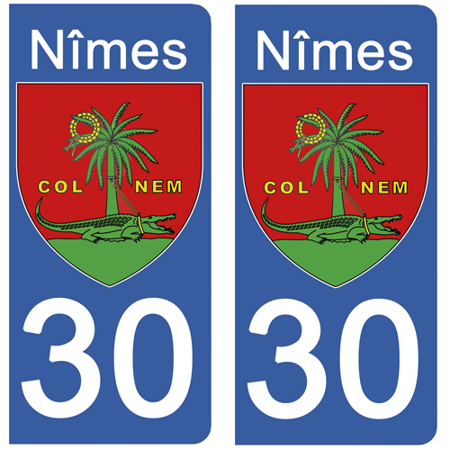2 stickers pour plaque d\'immatriculation Auto, 30 NIMES, Gard