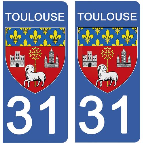 2 stickers pour plaque d\'immatriculation, 31 TOULOUSE, Haute Garonne, Région OCCITANIE