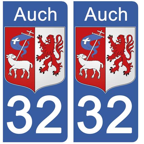 2 stickers pour plaque d\'immatriculation, 32 AUCH, Gers, Région OCCITANIE