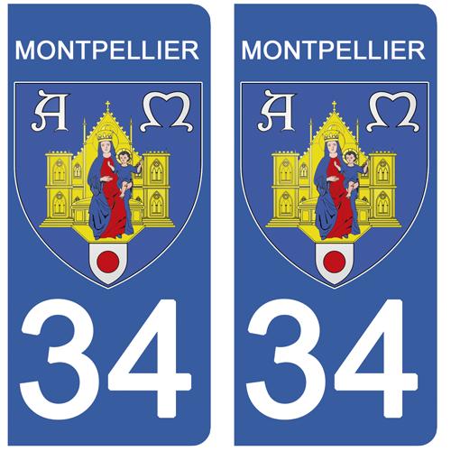 2 stickers pour plaque d\'immatriculation, 34 MONTPELLIER, Herault, Région OCCITANIE
