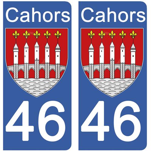 2 stickers pour plaque immatriculation Auto, 46 CAHORS, Lot, Région OCCITANIE