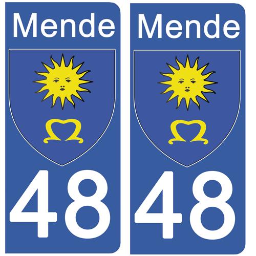 2 stickers pour plaque immatriculation Auto, 48 MENDE, Lozère, Région OCCITANIE