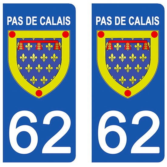 2 stickers pour plaque d\'immatriculation Auto, 62 Blason du Pas de Calais