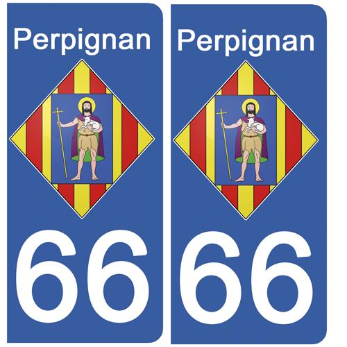 2 stickers pour plaque immatriculation Auto, 66 PERPIGNAN, Pyrénées Orientales, Région OCCITANIE