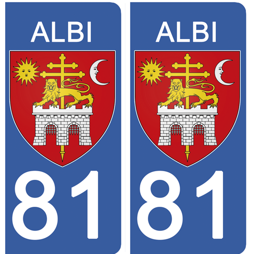2 stickers pour plaque immatriculation Auto, 81 ALBI, Tarn, Région OCCITANIE