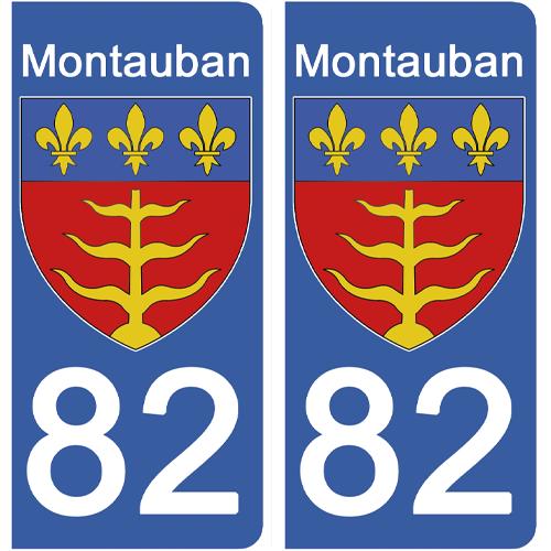 2 stickers pour plaque d\'immatriculation Auto, 82 MONTAUBAN, Tarn et Garonne