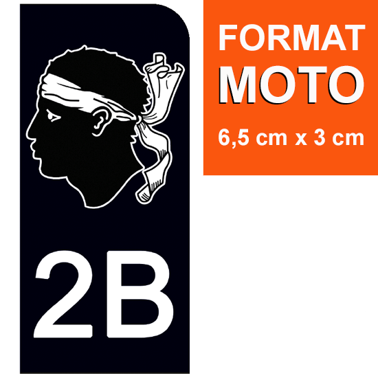 1 sticker pour plaque d\'immatriculation MOTO , 2B CORSE, noir
