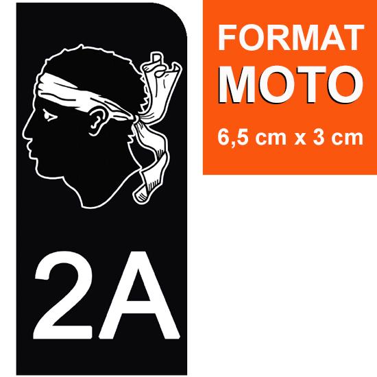 1 sticker pour plaque d\'immatriculation MOTO , 2A CORSE , noir