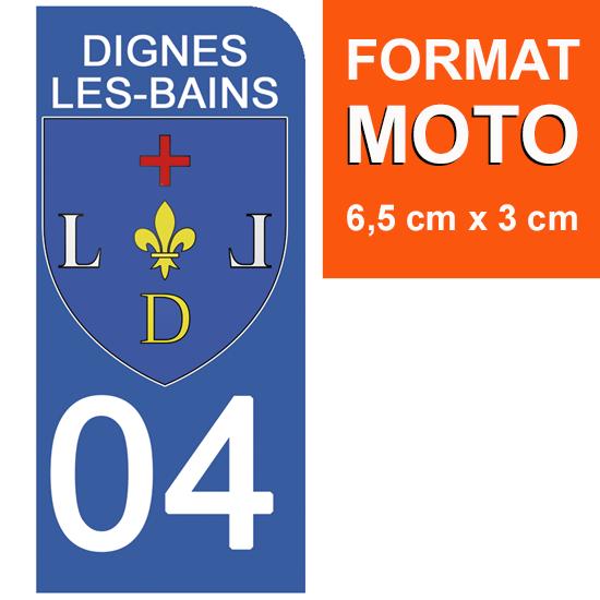 1 sticker pour plaque d\'immatriculation MOTO , 04 DIGNES LES BAINS, ALPES DE HAUTES PROVENCE