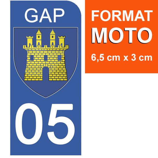 1 sticker pour plaque d\'immatriculation MOTO, 05 GAP, HAUTES ALPES