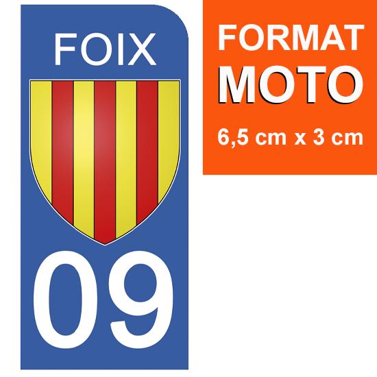 1 sticker pour plaque d\'immatriculation MOTO, 09 FOIX, ARIEGE