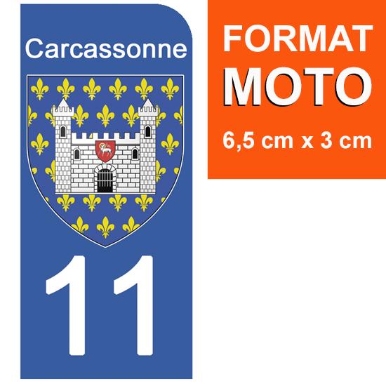 1 sticker pour plaque d\'immatriculation MOTO, 11 CARCASSONNE, AUDE