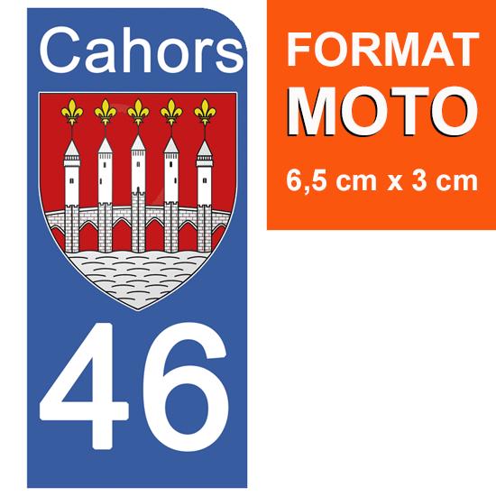 1 sticker pour plaque d\'immatriculation MOTO, 46 CAHORS, LOT