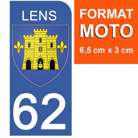 1 sticker pour plaque d\'immatriculation MOTO, 62 LENS, PAS DE CALAIS