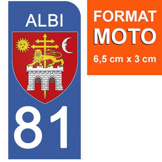 1 sticker pour plaque d\'immatriculation MOTO, 81 ALBI, TARN