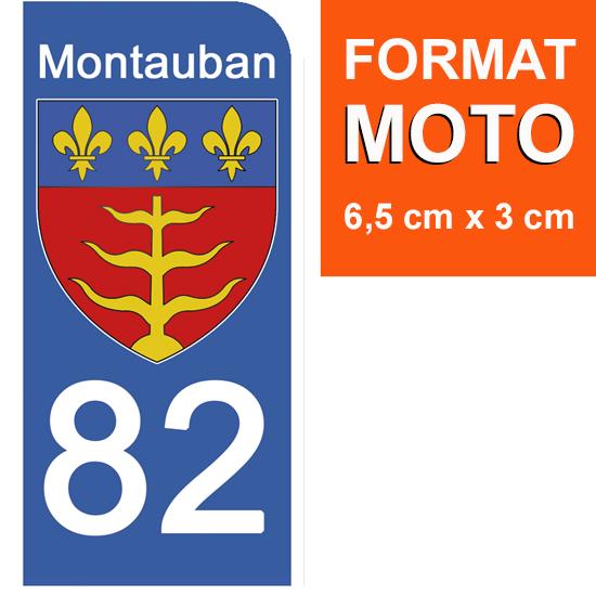 1 sticker pour plaque d\'immatriculation MOTO, 82 MONTAUBAN, TARN et GARONNE