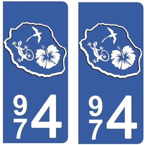 2 stickers pour plaque d\'immatriculation Auto, 974 carte de la Réunion