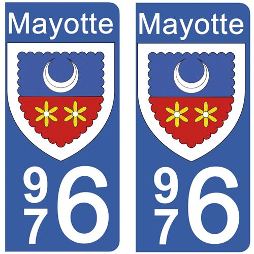 2 stickers pour plaque d\'immatriculation Auto, 976 blason de Mayotte