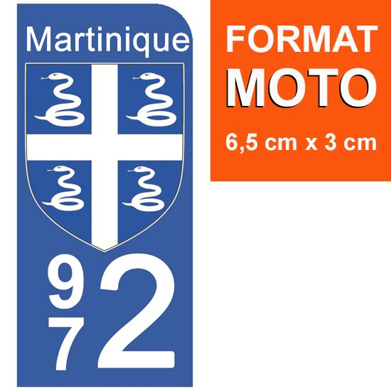 1 sticker pour plaque d\'immatriculation MOTO, 972 blason de la Martinique