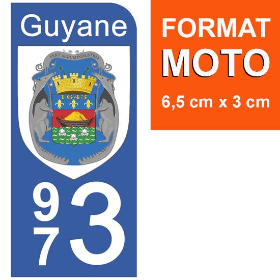 1 sticker pour plaque d\'immatriculation MOTO, 973 blason de la Guyane