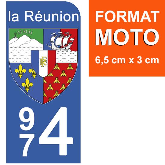 1 sticker pour plaque d\'immatriculation MOTO, 974 blason de la Réunion
