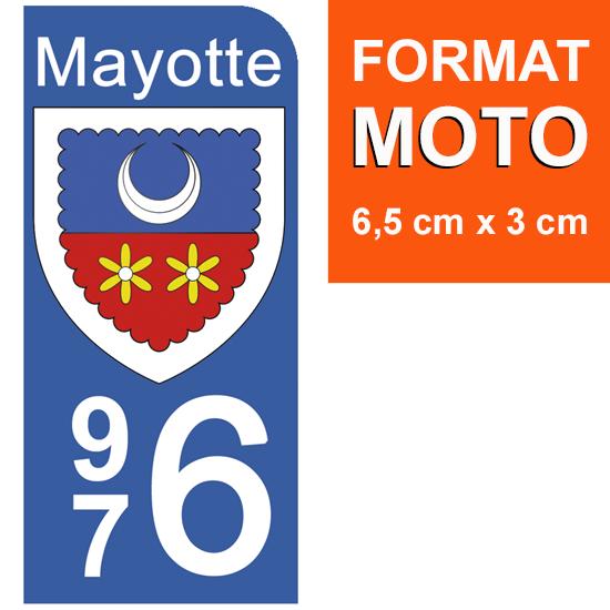 1 sticker pour plaque d\'immatriculation MOTO, 976 blason de Mayotte