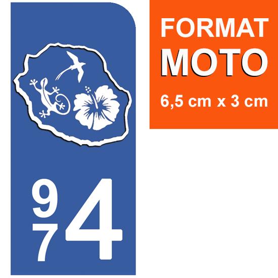 1 sticker pour plaque d\'immatriculation MOTO, 974 carte de la Réunion